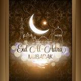 Ejemplo del vector del fondo de Eid Al Adha Mubarak con la mezquita Ilustración del Vector