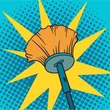 Ejemplo del vector del fondo del arte pop de la escoba de la limpieza Fotografía de archivo