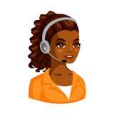 Ejemplo del vector del funcionamiento africano hermoso de la mujer como telefonista Fotografía de archivo libre de regalías