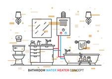 Ejemplo del vector del géiser del calentador de agua del cuarto de baño libre illustration