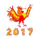 Ejemplo 2017 del vector del gallo del fuego de la historieta Fotos de archivo libres de regalías