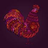 Ejemplo del vector del gallo en tonos rojos Símbolo 2017 en el calendario chino Feliz Año Nuevo EPS10 Imagen de archivo