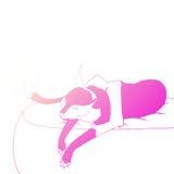 Ejemplo del vector del gato de mentira ilustración del vector
