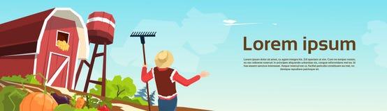 Ejemplo del vector del granero de Working On Farm del granjero Fotografía de archivo