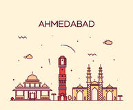 Ejemplo del vector del horizonte de Ahmadabad linear Fotografía de archivo