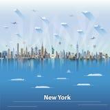 ejemplo del vector del horizonte de Nueva York stock de ilustración