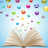 Icono de la educación que sale del libro abierto Imagen de archivo