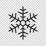 Ejemplo del vector del icono del copo de nieve en estilo plano aislado en la ISO Imagenes de archivo
