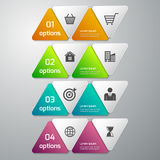 Ejemplo del vector del infographics del negocio 4 opciones papel t Stock de ilustración