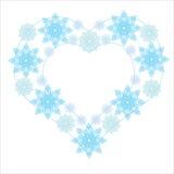 Ejemplo del vector del invierno del corazón del copo de nieve Fotografía de archivo libre de regalías
