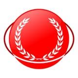 Ejemplo del vector del laurel, icono rojo Foto de archivo libre de regalías