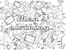Ejemplo del vector del libro de colorear de la ropa de los hombres Fotografía de archivo libre de regalías