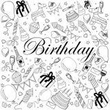 Ejemplo del vector del libro de colorear del cumpleaños Fotografía de archivo libre de regalías
