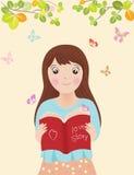 Ejemplo del vector del libro de lectura de la muchacha ilustración del vector