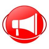 Ejemplo del vector del megáfono, icono rojo Fotografía de archivo libre de regalías