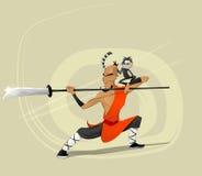 Ejemplo del vector del monje del guerrero de Shaolin Imágenes de archivo libres de regalías