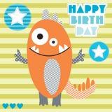 Ejemplo del vector del monstruo del cumpleaños lindo y feliz Foto de archivo