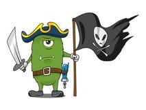 Ejemplo del vector del monstruo del pirata del espacio de la historieta Imagen de archivo