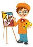 Ejemplo del vector del muchacho del artista de la historieta libre illustration