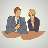 Ejemplo del vector del negocio del arte con la mujer que habla del hombre Foto de archivo libre de regalías