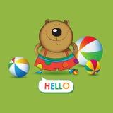 Ejemplo del vector del oso divertido Fotografía de archivo
