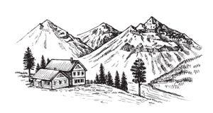 Ejemplo del vector del paisaje de la montaña stock de ilustración