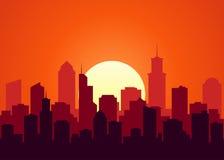 Ejemplo del vector del paisaje de la puesta del sol Fotos de archivo libres de regalías