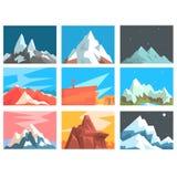 Ejemplo del vector del paisaje de los picos y de las cumbres de montaña fijado con las montañas de diversas zonas geográficas libre illustration