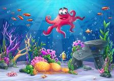 Ejemplo del vector del paisaje del mar con el pulpo libre illustration