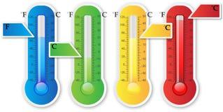 Papel del termómetro con la muestra ilustración del vector