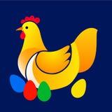 Ejemplo del vector del pollo con los huevos de Pascua Foto de archivo