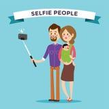 Ejemplo del vector del portreit de la familia de Selfie Imágenes de archivo libres de regalías
