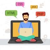 Ejemplo del vector del programador de trabajo con el ordenador portátil libre illustration