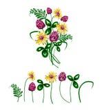 Ejemplo del vector del ramo hecho de wildflowers Imágenes de archivo libres de regalías