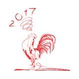 Ejemplo del vector del símbolo del gallo de 2017 Foto de archivo libre de regalías
