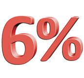 Ejemplo del vector del seis por ciento el 6% con el efecto 3D Fotos de archivo