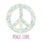 Ejemplo del vector del signo de la paz en fondo azul Plantilla para el día internacional de la paz Fotos de archivo