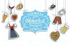 Ejemplo del vector del sistema de elementos de Oktoberfest Foto de archivo libre de regalías