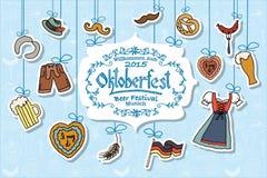 Ejemplo del vector del sistema de elementos de Oktoberfest Imagen de archivo libre de regalías