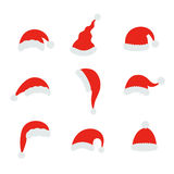 Ejemplo del vector del sombrero de la Navidad de Papá Noel Sombrero de copa rojo de santa en el fondo blanco Imagenes de archivo