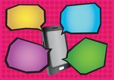 Ejemplo del vector del teléfono móvil y de los globos de discurso de la historieta Imagen de archivo