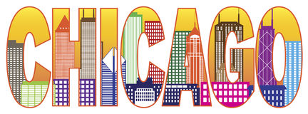 Ejemplo del vector del texto del color del horizonte de la ciudad de Chicago Foto de archivo libre de regalías