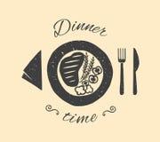 Ejemplo del vector del tiempo de cena Fotografía de archivo libre de regalías