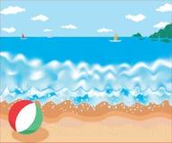 Ejemplo del vector del verano del paisaje marino Fotos de archivo