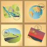 Tarjetas del tema del viaje. Fotos de archivo libres de regalías