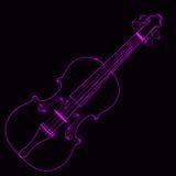 Ejemplo del vector del violín de neón Ilustración del Vector