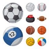 Ejemplo del vector del deporte y del símbolo de la bola Colección de deporte e icono atlético del vector para la acción stock de ilustración