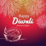 Ejemplo del vector del diseño feliz del saludo del diwali con el fondo colorido y el diya ardiendo libre illustration