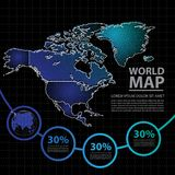 Ejemplo del vector del diseño del mapa de América Imagen de archivo
