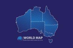 Ejemplo del vector del diseño del mapa de Australia Imágenes de archivo libres de regalías